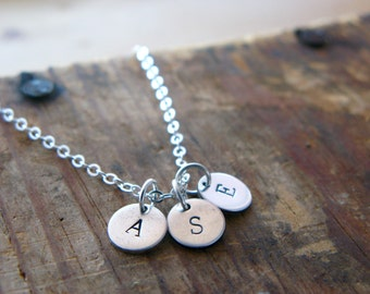 Silver Initials Disc Necklace - Monogram - Personalized Jewelry - Three Initials