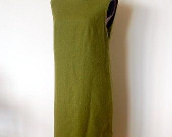 Moss Olive Green Pendleton Wool Shift Dress Jumper - Women's Large size 16