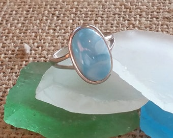 Large Oval Larimar ring -925 Sterling Silver -  Dominican Larimar - Calming Stone - healing stone