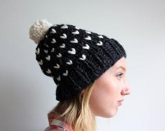 Hand Knit Slouchy Pom Hat - The Minnehaha Hat - Charcoal & Fisherman - WARM + COZY!
