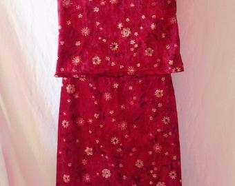 All vintage, skirt and top, short velvet, Naf Naf, size F 36, USA 26, UK 8.