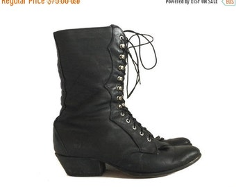 LAREDO BOOTS / tall black leather boots / witchy black boots / womens western boots size 6.5