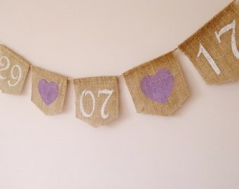 Lavender wedding Save the date bunting, Engagement bunting, Bridal shower decor