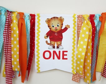 Daniel Tiger 1st Birthday Highchair Banner,  Daniel Tiger Birthday Party, Cake Smash Photo Prop, 1st birthday Boy, 1st birthday Girl