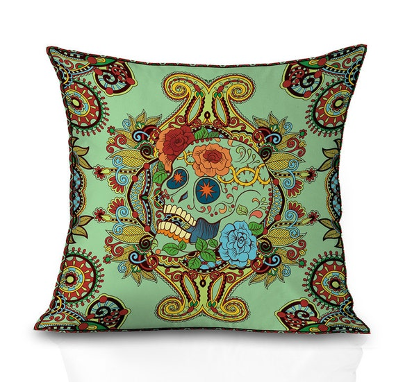 Green sugar skull throw pillow covers skull pillow cover both sides print any sizes