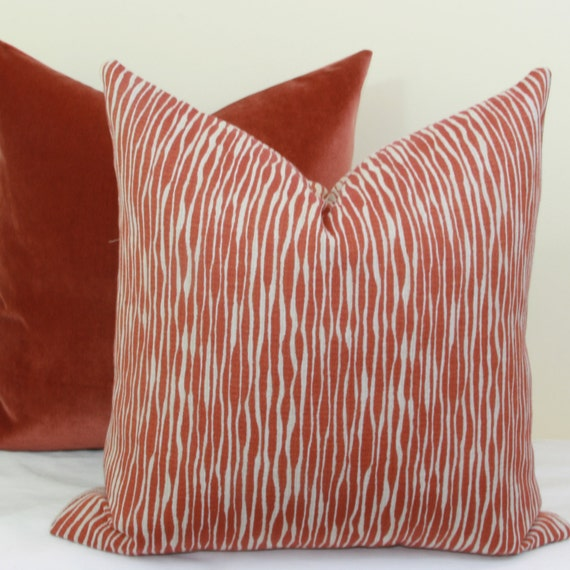 22x22 Throw Pillow Covers : Brick red reversible throw pillow cover 18x18 20x20 22x22
