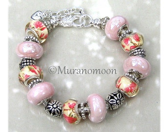 Pink Charm Bracelet European Bracelet Soft Pink Glass Bead Lampwork Beaded Bracelet Gift For Daughter Sister Nana Aunt Mother Grandma EB1510