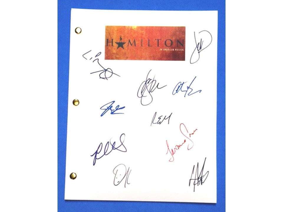 Hamilton Script Broadway Lyrics Signed 10X Lin-Manuel Miranda