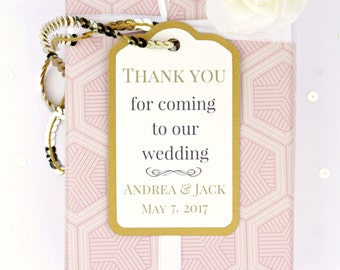 Thank You Wedding Gift Tags • Custom Luxury Favour Tags • Napkin Rings • 23 Colors