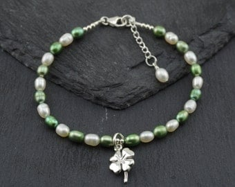 St Patrick's day Bracelet Irish lucky shamrock charm, green and white freshwater pearls, sterling silver. Four leaf clover charm. Scotland