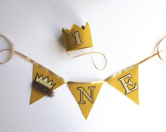 First Birthday Max Where the Wild Things Are Felt Mini Crown Headband Set, Gold Mustard, One Year Cake Smash Photo Prop
