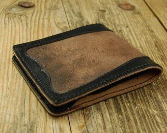 Mens wallet Leather slim wallet Brown wallet Steampunk wallet Slim wallet