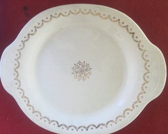 Knowles Semi-vitreous white ceramic china plate with gold trim