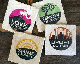 Grow, Shine, Uplift, Love Detroit Coaster set of four