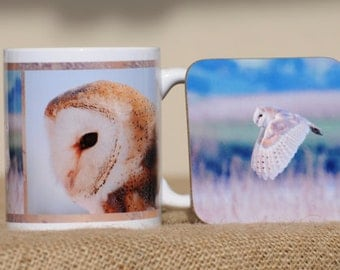 Barn owl mug with coaster