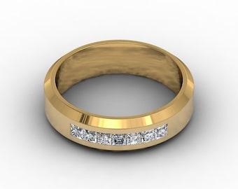 Mens Wedding Band 18k Yellow Gold .70ct Princess Cut Natural Diamonds Mens Band 7mm Wide Pristine Custom Rings wedding bands