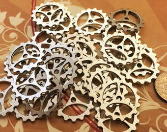 40 New Big Large Steampunk Gears Cogs Buttons Wheels Watch Parts Sprocket Altered Art Silver Charms Jewelry Gothic Supplies Crafts