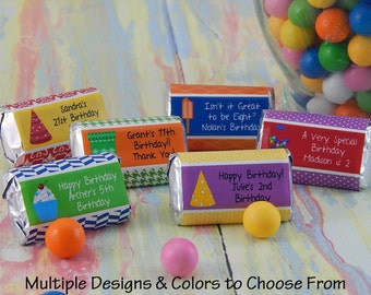 Birthday Party Ideas - Birthday Favors - Kids Birthday Party Favors - Teenage Birthday Party Ideas - Candy Bar Wrappers - 18 PRINTED Labels
