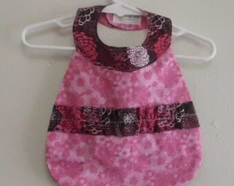 Reversable Pink & Brown Baby Bib