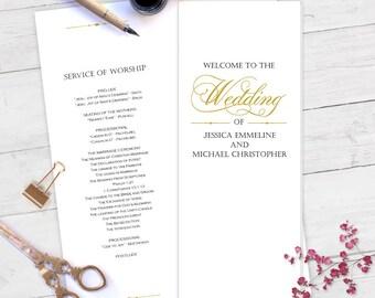 Printable wedding program template, wedding programs, wedding program instant download, wedding ceremony program, DIY, editable, T76