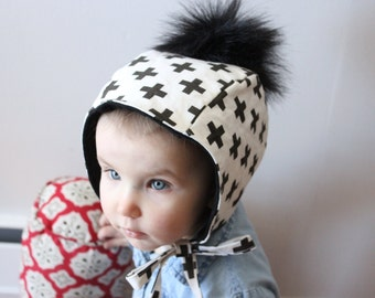 baby hat pompom fake fur black and white swiss cross hood hoodie child hat toddler touque spring hat cotton french terry