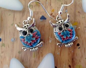 Handmade Silver and Clay Owl Earrings
