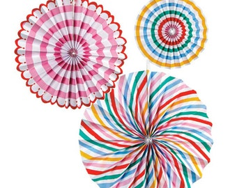 Toot Sweet Pinwheels (Set of 6), Meri Meri Party Pinwheels, Large Paper Rosettes, Stripes & Polka Dots, Happy Birthday Party Decorations