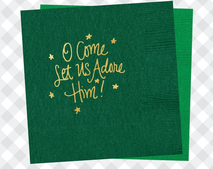 O Come Let Us Adore Him Christmas Napkins (Qty 25)