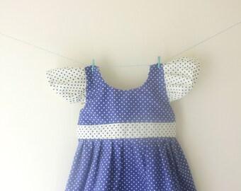 Blue and white spotty dress, spotty dress, dotty dress, capped sleeves dress, contrasting dress, baby dress, toddler dress, girls dress