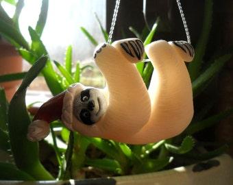 White Sloth Christmas Ornament - Christmas Tree Ornament - Sloth Miniature Figurine - Polymer Clay Albino Sloth