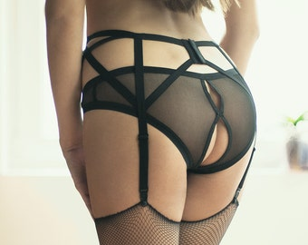 Sheer Lingerie Panties, Crotchless Panties, Open Crotch Erotic Panties, Burlesque Lingerie, Erotic Panties, Open Back Panties, Sexy Bottoms