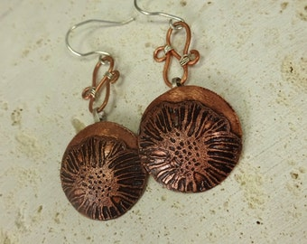 Handmade Copper & Sterling Silver Etched Dangle Earrings. Etched Flower Design Copper Earrings. Patina Copper Earrings. Metalwork jewelry
