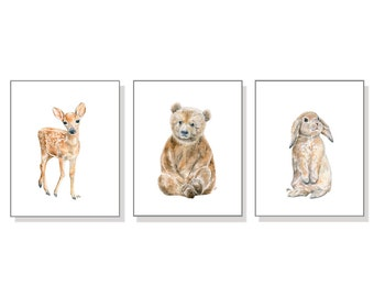 Woodland Nursery Print Woodland Watercolor Woodland Nursery Art Woodland Animal Print Forest Nursery Wall Art Bear Deer Bunny Print Set of 3