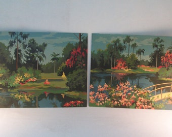 Paint by Numbers Pair Large Southern Paradise Southern Charm UNFRAMED     S948