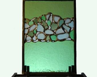 Decorative Glass Panel with Sea Glass