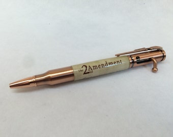 2nd Admendment hand made Antique Copper Bullet Ballpoint Patriotic Pen