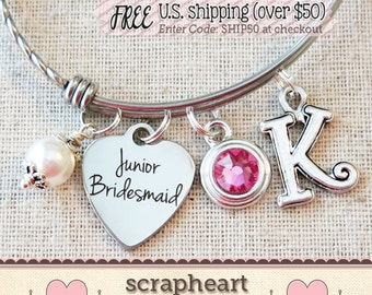 Jr BRIDESMAID Bracelet, Junior Bridesmaid Gift, Personalized Jr Bridesmaid Keepsake, Junior BRIDESMAID Thank You Gift, Custom Jr Bridesmaid