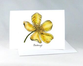 Buttercup Card, Buttercup Greeting Card, Flower Note Card Color, Buttercup Art Card, Blank Note Card, Floral Note Card, Zentangle Flower
