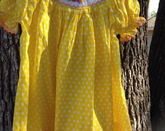 Smocked Thanksgiving dress.  Bright yellow Thanksgiving dress