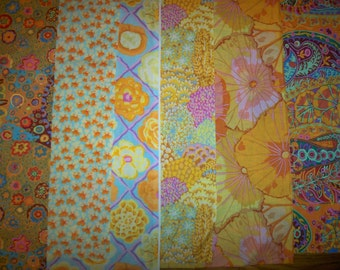Quilt fabric - Kaffe Fassett - Assorted Yellows, Oranges - 6 fat quarters