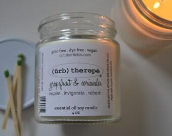 Aromatherapy Soy Candle. Grapefruit & Coriander. 4 oz. Organic Essential Oils. Vegan. non-GMO. Phthalate free. Dye free.