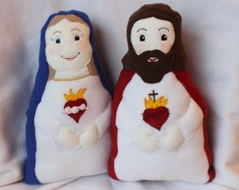 Sacred Heart of Jesus and Immaculate Heart of Mary Handmade Soft Saint Doll,  Jesus and Mary, Soft and Perfect for little ones to Snuggle.