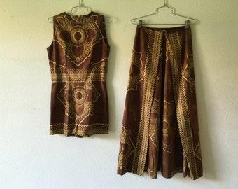 Vintage 60s 2pc Set Shorts Jumpsuit Cover Up Skirt