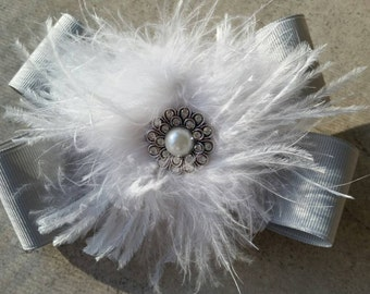 Dance competition hair bow. Hair bow with Ostrich feather accent.