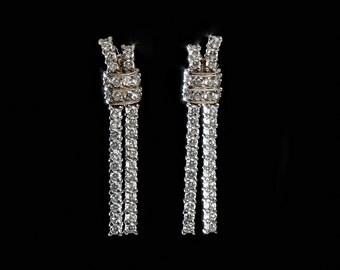 Jewelry Earrings Vintage earrings Stud earrings Sterling silver earrings  925 Wedding  Bridal earrings Cubic Zirconia  dangle earrings