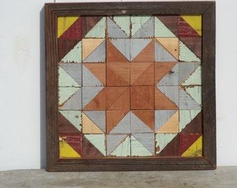 wooden barn quilt, geometric art, salvaged wood art