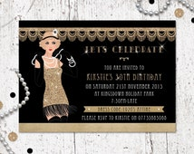 1920's Great Gatsby Birthday Party Invitation -'Flapper Girl' - Printable File