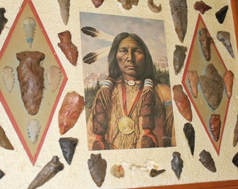 "Native American Arrowheads with Picture in Wooden Frame 18.5"" x 14.5"""