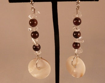 Mother of Pearl with Garnet and Quartz Elegant Earrings