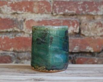 Green and Shino Ceramic Vase, Crawling Glaze